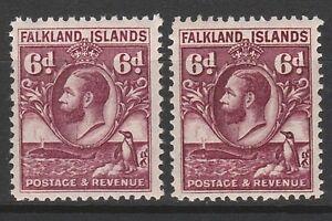 FALKLAND ISLANDS 1929 KGV WHALE AND PENGUIN 6D BOTH PERFS