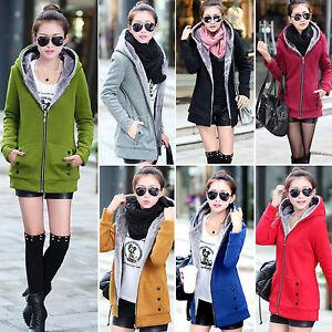 Женские, дамские, с капюшоном толстовка пальто куртка топы сгустить флис теплая длинная куртка топы