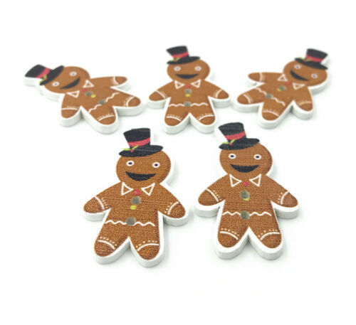 Mr gingerbread man Christmas buttons Wooden sewing decoration Christmas 35mm