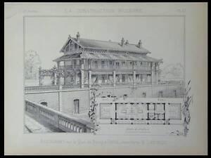 PARIS, RESTAURANT QUAI DE BERCY - 1887 - PLANCHE ARCHITECTURE - LHEUREUX