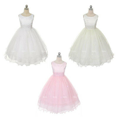 WHITE Communion Flower Girl Dress Bridesmaid Tulle Wedding Party Formal Recital