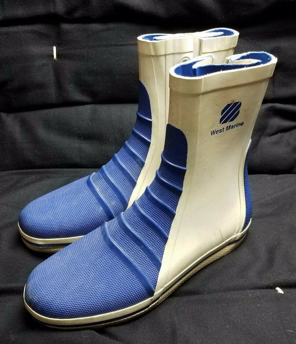 West Marine G 5 Competition Dinghy Rubber Waterproof Boots Mens 7 Lace Up bluee
