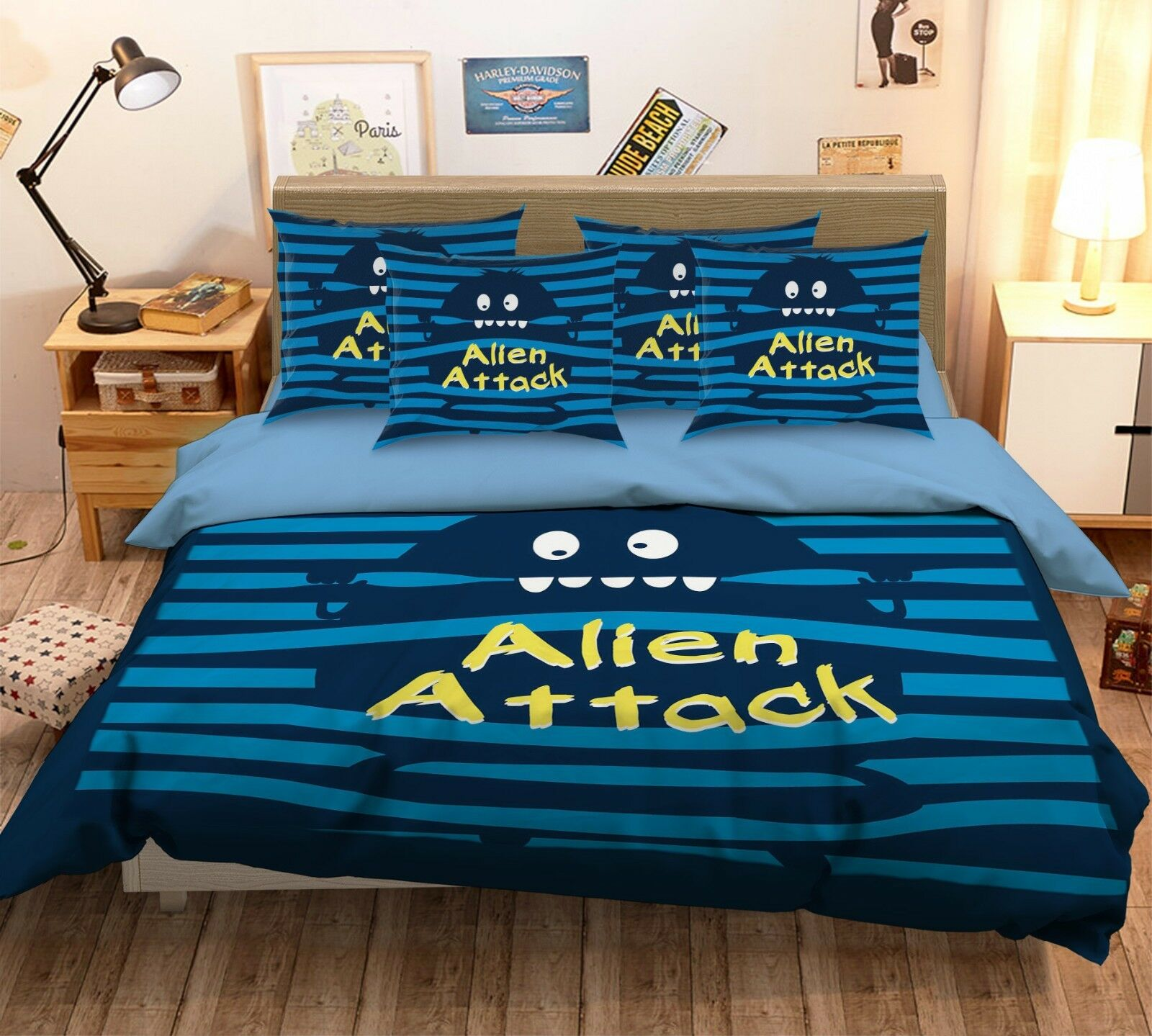 3D Alien Cartoon 43 Bed Pillowcases Quilt Duvet Cover Set Single Queen King AU