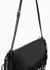 Woman real leather fringed bag mango,size S UK 8 new black rrp 120£