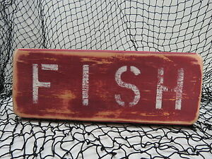 Maritime #s775 Shop For Cheap 9 Inch Wood Hand Painted Fish Sign Nautical Seafood