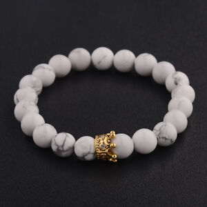 Bien Informé Femmes Hommes Gold Crown 8 Mm Pierre Naturelle Blanc Nacres Perles Charme Bracelets Cadeau-afficher Le Titre D'origine