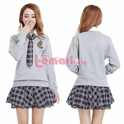 Girls Student School Uniform Long Sleeve Dress Sweater Shirt Cosplay Costumes