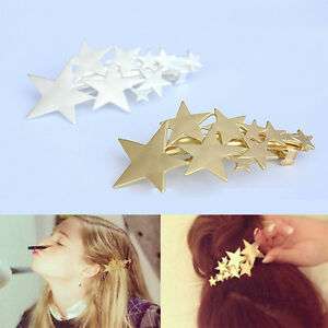 Women-Korean-Star-Hair-Clip-Barrette-Gold-Silver-Shiny-Clasp-Hairpin-Bobby-New