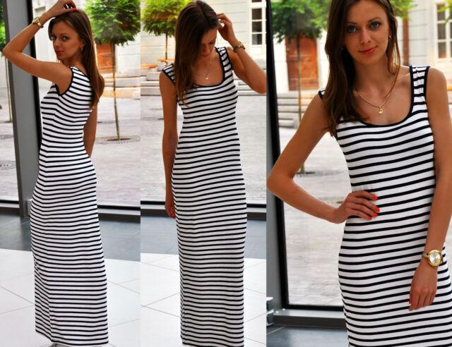 Sommer Bodenlang MaXi Kleid Boho Celebrities Style Streifen S M L XL 36 38 40