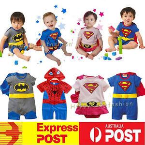 Baby Boy Girl Superman Batman Supergirl Costume Outfit   Ramper size: 3-18M
