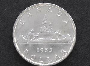1953-Canada-Silver-Dollar-SF-Elizabeth-II-Canadian-Coin-D7127