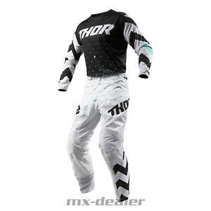 Details zu 2019 Thor Pulse Stunner weiß Hose Jersey mx motocross Cross Combo Kombi BMX