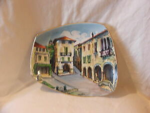 Vintage-Collectable-Hand-Painted-Display-Plate-Ceramica-F-Bozzola-Lucy-Pier