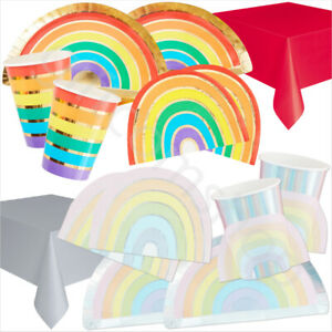 Rainbow-Pastel-Party-Supplies-Paper-Plates-Cups-Napkins-Table-Cover-8-Guests