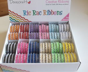 1-REEL-DOVECRAFT-RIC-RAC-RIBBON-choice-of-colour-3m-ribbons