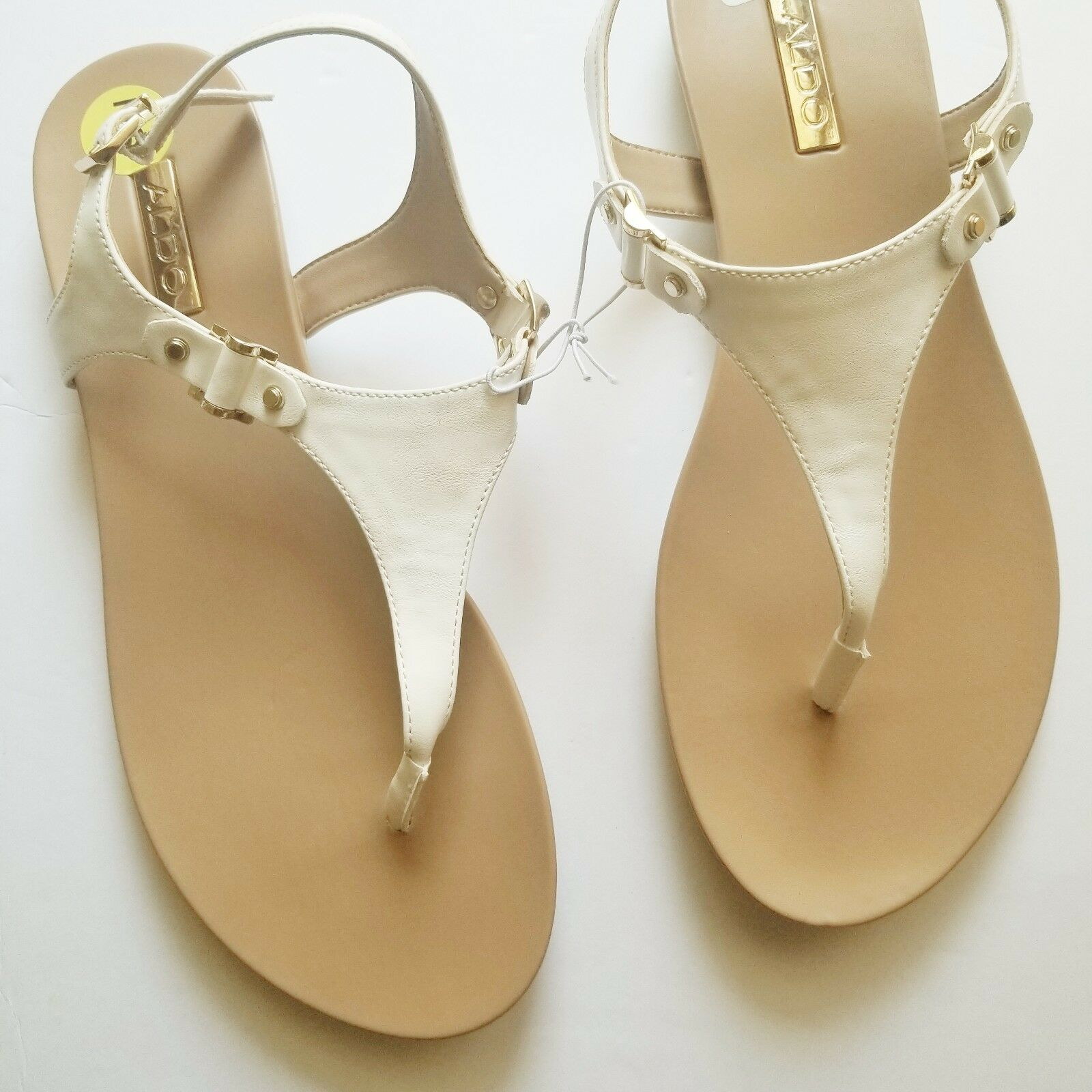 Aldo Thong Sandals femmes Taille 9 Nude Tan blanc with or Tone hardware