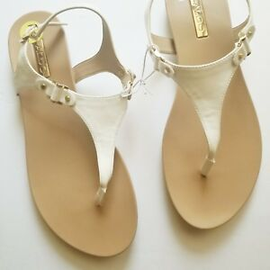 dcab7c550b8 Aldo Thong Sandals Women Size 9 Nude Tan White with Gold Tone ...