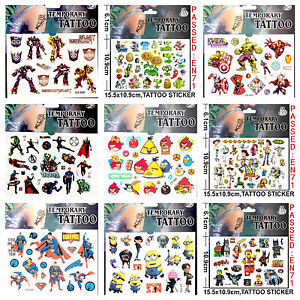 Cartoon-Kids-Temporary-Tattoo-Sticker-Sheet-Party-Favours-Lolly-Loot-Bag-Tattoo