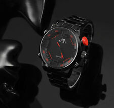 Quartz Wristwatch Stainless Steel Detailed Dial Design Back and Red Father's Day