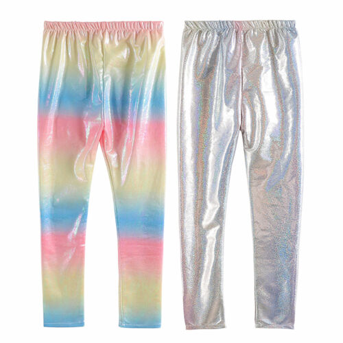 Girls Kids Shiny Pants Performance Metallic Trousers Gymnastics Dancing Leggings
