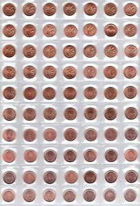 Canada-Complete-70-Coin-1956-2012-Gem-BU-Penny-Collection
