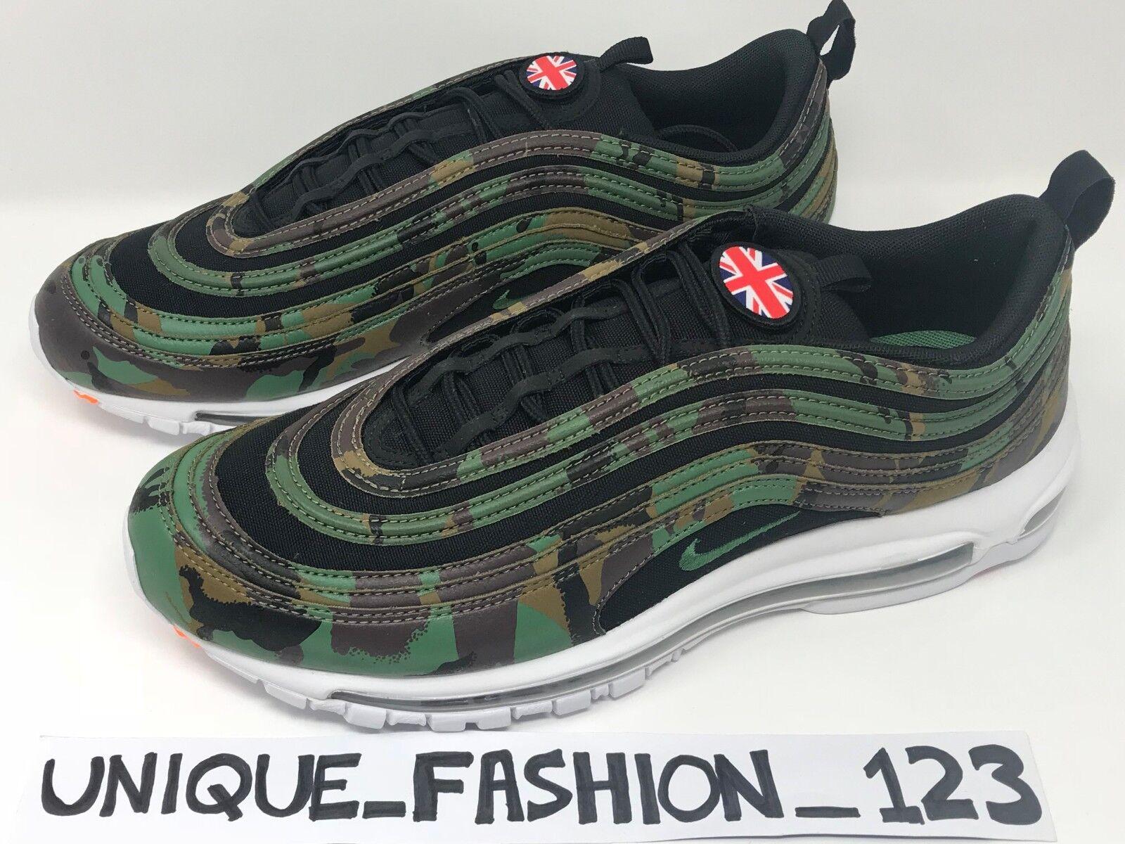 Nike air max 97 regno unito paese mimetico pack qs 6 7 8 9 10 11 12 aj2614-201 premio