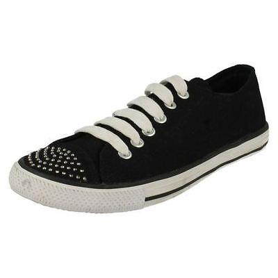 Spot on F8955 Damas Negras Tenis Zapatos Con Cordones Casual de Lona