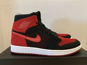 Nike-Air-Jordan-1-Retro-High-Flyknit-10-5-New-DS-919704-001-Black-Red-Bred-OG-SB