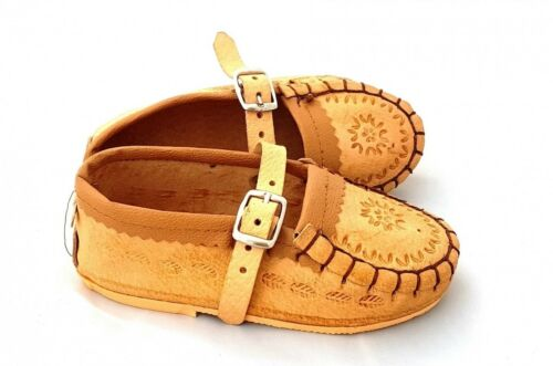 Kids natural leather slippers moccasins size 1,2,3,4,5,6,7,8,9,10