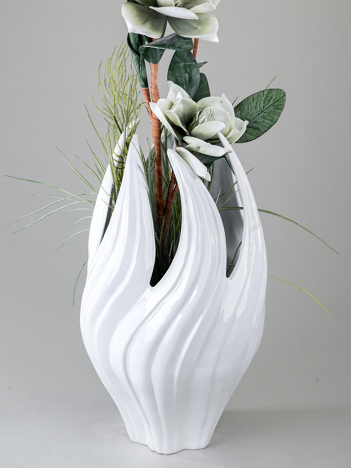 Moderne Bodenvase FLAME aus Keramik weiß glasiert 29x40 cm