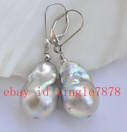 15x20mm Gray Baroque Keshi reborn Pearl Dangle Boucle d/'oreille