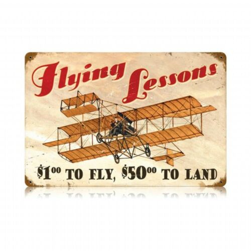 """Vintage Metal Sign /""""Flying Lessons $1/"""" 18/"""" X 12/"""" Great for Pilots and Hangar"""