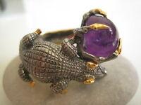Handarbeit Krokodil Ring 925 Silber 585 Gold & Rhodium Mit Amethyst, Top Design