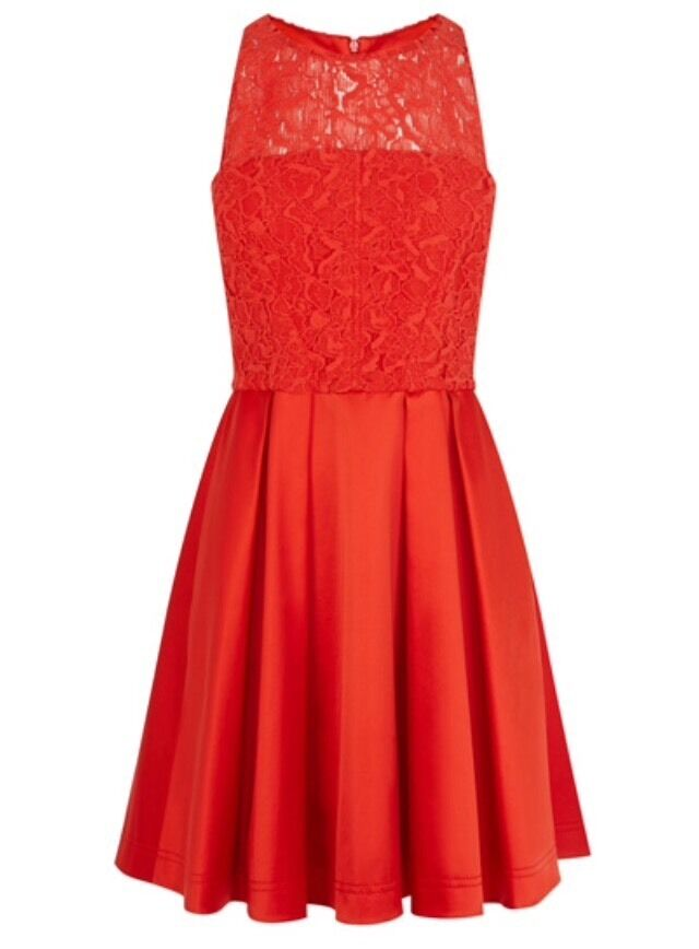 Karen Millen Lace And Satin Full Skirted Dress Größe 10 RRP