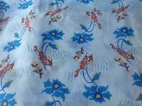 OVER 1 YARD OF VINTAGE WHITE WITH BLUE AND BROWN FLORAL PRINT COTTON FABRIC
