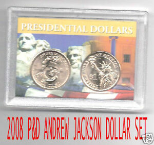 2008-P-amp-D-ANDREW-JACKSON-DOLLAR-SET-IN-2X3-HOLDER-BU