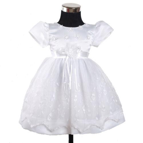 Bébé Fille Blanc Robe de baptême 3 6 9 12 18 mois