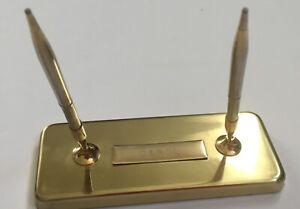 Vintage-BRASS-Gold-DESK-PEN-HOLDERS-2-Holders-2-Pens-Foam-Bottom-Swivel-Holders