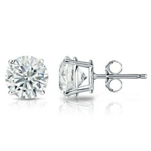 2-00-Ct-925-Sterling-Silver-Round-Cut-White-Cubic-Zirconia-Stud-Earrings-6MM