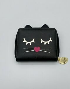 Luv-Betsey-Johnson-Small-Wallet-4x5-034-Sleepy-Kitty-cat-nose-pink-FAST-FREE