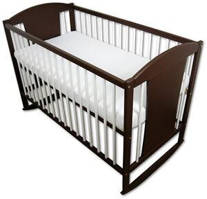 babybett kinderbett wiegebett 120x60 braun wei matratze eule neu ebay. Black Bedroom Furniture Sets. Home Design Ideas