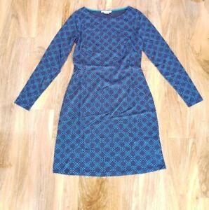 b5a1d908761a Boden Mia Jersey Dress Navy Blue Large Honeycomb Spot UK size 8L ...