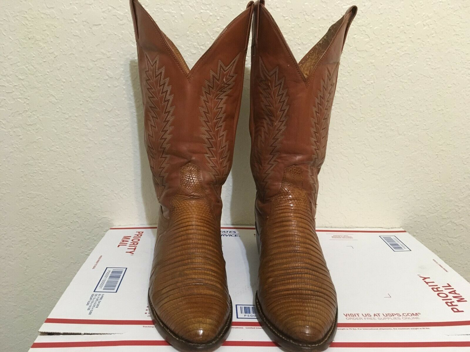 BROWN USA SANDERS VINTAGE LIZARD WESTERN TRAIL BOSS COWBOY BOOTS 9.5 D