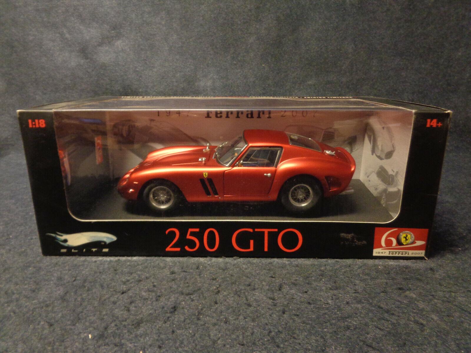 el mas de moda FERRARI FERRARI FERRARI 250 GTO HOT WHEELS LIMITED ED MATTEL ELITE DIE CAST 1 18 - 60° -O17-FL  soporte minorista mayorista