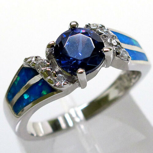 INCROYABLE TANZANITE blue opal 925 Sterling Silver Ring Taille 8