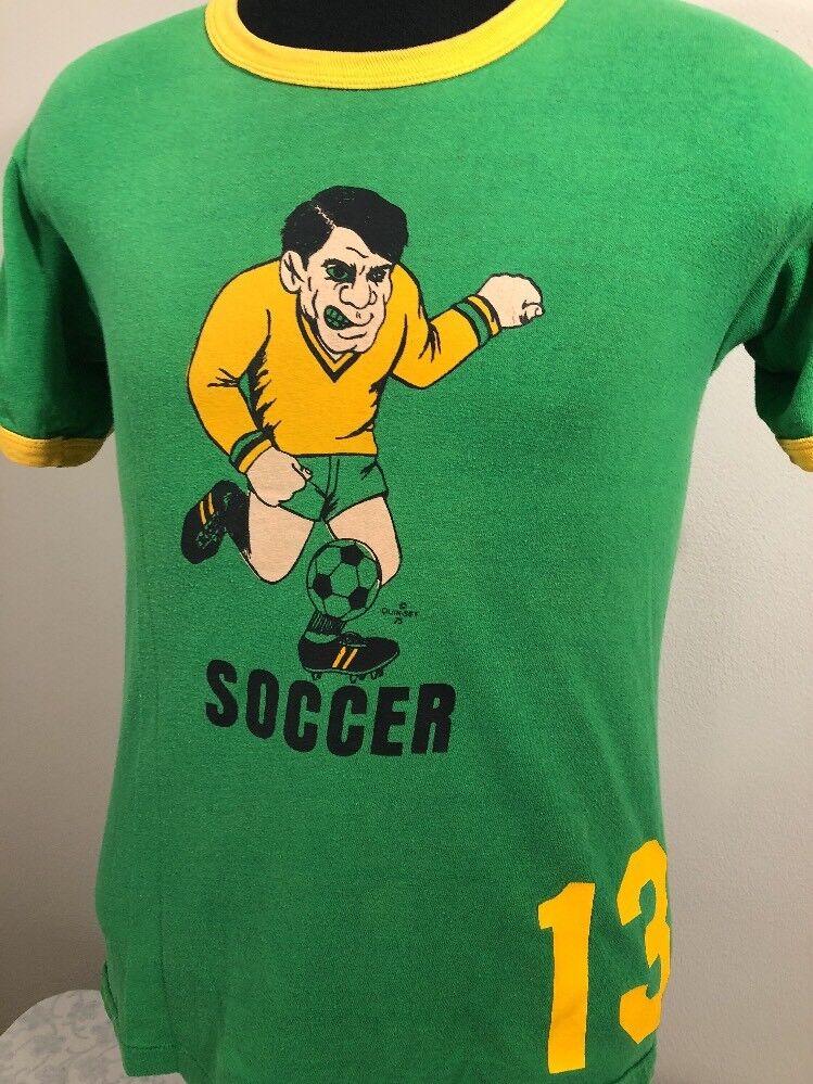 VTG Russell Athletic T Shirt 70s Made USA Soccer Quik-Set 1975 80s Ringer Tee