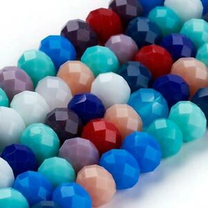 """20 Strand Mix Pearl Luster Electro Plated Glass Faceted Rondelle Bead 8x6mm 17/"""""""