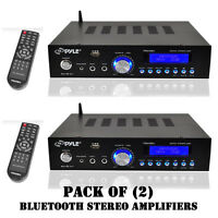 Pack Of (2) Pyle Pda5bu 200w Bluetooth Stereo Amplifiers W/ Am-fm,mic,aux O/ps on sale