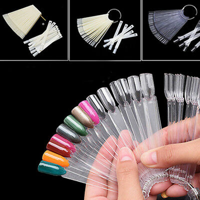 50 x False Nail Tips Polish Palette Nail Art Practice Fan Color Sticker Display