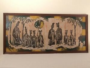 Large Framed Batik Royal Gardens Wall Hanging Asian Figural Textile Vintage Ebay